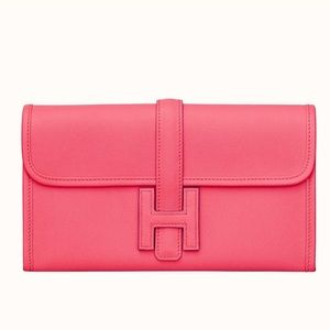 New Auth Hermes Jige Duo Wallet Rose Azalee